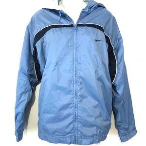 NIKE Blue Windbreaker Full Zip Hooded Jacket ~sz L